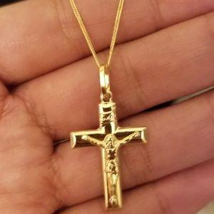 18k 1.7g Cross Necklace
